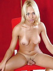 Blonde solo shemale Hindrid Ferrary releasing large tits and shecock