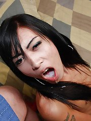Skinny Asian shemale on male blowjob and cumshot provide by the sexy Auns