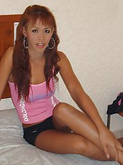 Redheaded Asian ladyboy Give removing shorts for solo masturbation session