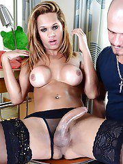 Tattooed blonde shemale on male sex with Bianca Alves and Robert Axel
