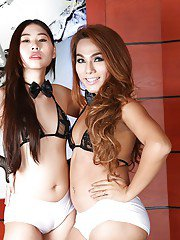 Asian ladyboys Yuki A and A star in tranny on male threesome with Johnny UK