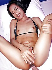 Skinny brunette Asian ladyboy sporting anal creampie after big cock BB anal