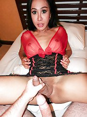 Brunette Asian shemale in fishnet stockings taking BB butt fucking from man