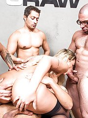 Stocking clad Latina shemale Mel Almeida taking BB anal during gangbang