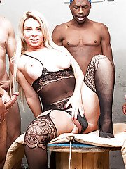 Chubby Latina shemale Carol Penelope enjoying interracial BB gangbang