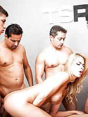 Blonde Latina tranny Barbara Perez sporting anal creampie after BB gangbang